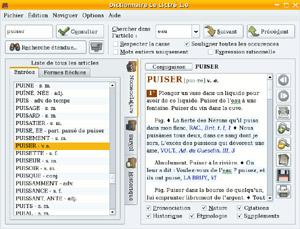 Capture d'écran du logiciel Dictionnaire Le Littré 2.0 fr