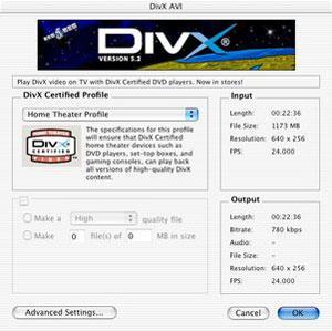 Capture d'écran du logiciel Codec DivX 5.2.1 fr - MacOS