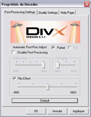 Capture d'écran du logiciel Codec DivX 5.1.1