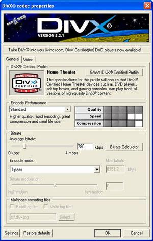 Capture d'écran du logiciel Codec DivX 5.2.1 fr - Windows