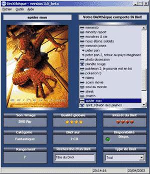 Capture d'écran du logiciel DivXtheque 3.0b fr