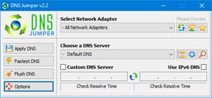Capture d'ecran du logiciel DNS Jumper 2.1 fr