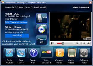 Capture d'écran du logiciel DownTube 2.2