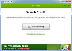 Capture d'ecran du logiciel Dr.Web CureIt! 30-12-2018 fr