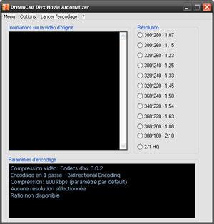 Capture d'ecran du logiciel Dreamcast DivX Movie Automatizer beta 3 fr