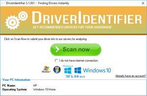 Capture d'écran du logiciel DriverIdentifier Portable 5.1....