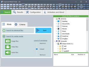 Capture d'ecran du logiciel Duplicate Media Finder 6.008 fr
