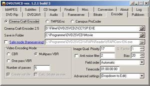 Capture d'écran du logiciel Dvd2Svcd 1.2.3 Build 1