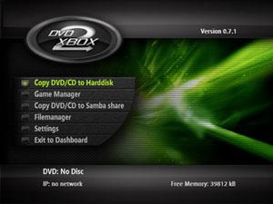 Capture d'écran du logiciel Dvd2XBox 0.7.8