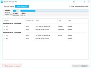 Capture d'ecran du logiciel EaseUS Disk Copy Pro 3.0 fr