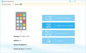 Capture d'ecran du logiciel EaseUS MobiMover Free 3.0 fr