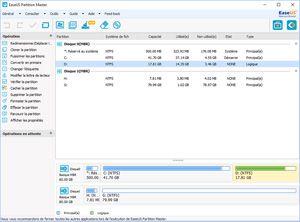 Capture d'ecran du logiciel EaseUS Partition Master Free 12.5 fr