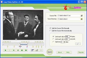 Capture d'ecran du logiciel Easy Video Splitter 2.01