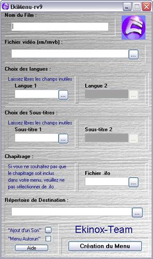 Capture d'écran du logiciel EkiMenu RV9 3.0 fr