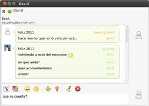 Capture d'écran du logiciel Emesene 2.12.9