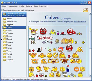 Capture d'ecran du logiciel Emoticon 5.9 fr