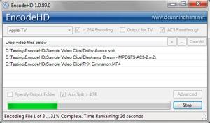 Capture d'écran du logiciel EncodeHD 1.4.150