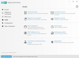 Capture d'ecran du logiciel ESET NOD32 Antivirus 13.2.16.0 fr