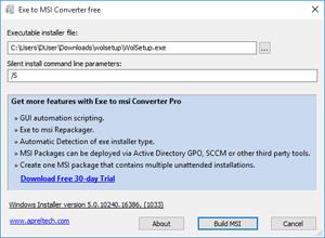 Capture d'ecran du logiciel Exe to Msi Converter free 2.0.0.0