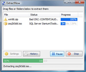 Capture d'ecran du logiciel ExtractNow 4.8.3.0 fr