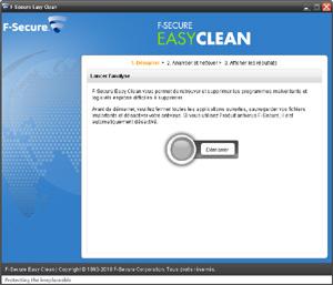 Capture d'ecran du logiciel F-Secure Easy Clean 2.0.18360.26 fr