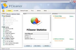 Capture d'écran du logiciel FCleaner 1.3.1.621 fr