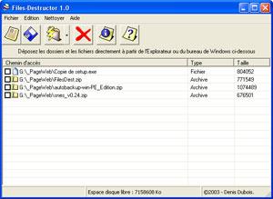 Capture d'écran du logiciel Files-Destructor 1.0 fr