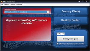 Capture d'écran du logiciel Files Terminator Free Portable...