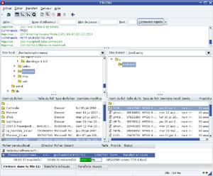 Capture d'écran du logiciel FileZilla 3.25.1 fr - Linux