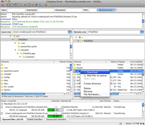 Capture d'écran du logiciel FileZilla 3.29.0 fr - MacOS