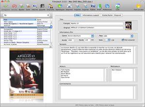 Capture d'ecran du logiciel Filmotech 3.82 fr - Mac