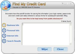 Capture d'ecran du logiciel Find My Credit Card 2.3 fr