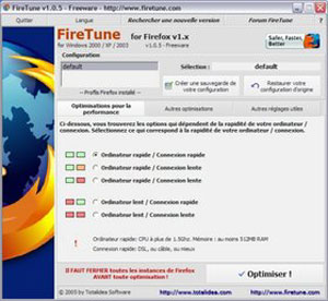 Capture d'écran du logiciel FireTune 1.2.0 fr
