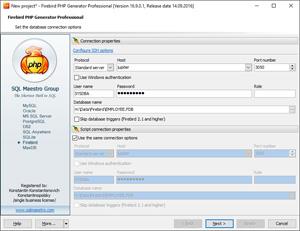 Capture d'ecran du logiciel Firebird PHP Generator Lite 18.3.0.2 fr