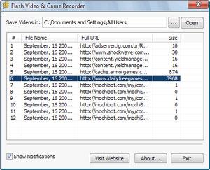 Capture d'ecran du logiciel Flash Video & Game Recorder 1.0.0.1