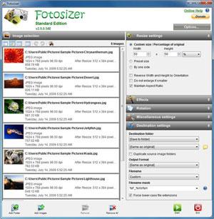 Capture d'écran du logiciel Fotosizer Standard Edition 3.0...