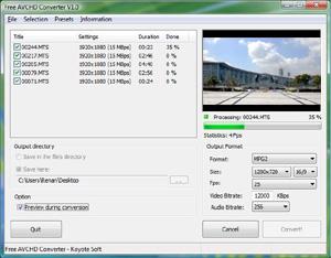 Capture d'écran du logiciel Free HD Converter 1.7