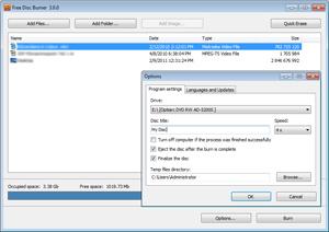 Capture d'ecran du logiciel DVDVideoSoft Free Disc Burner 3.0.66.823 fr