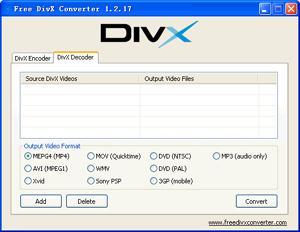 Capture d'écran du logiciel Free DivX Converter 1.2.17