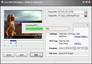 Capture d'ecran du logiciel Free DVD MP3 Ripper 1.26