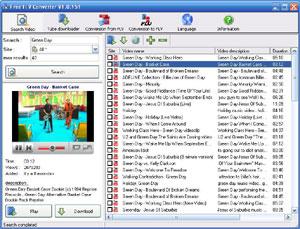 Capture d'écran du logiciel Free FLV Converter 6.98 fr