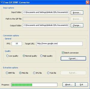 Capture d'écran du logiciel Free GIF2SWF Converter 1.0