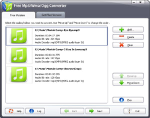 Capture d'écran du logiciel Free Mp3 Wma Ogg Converter 10.1.1