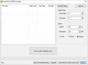 Capture d'écran du logiciel Free PDF to EPUB Converter 1.0...
