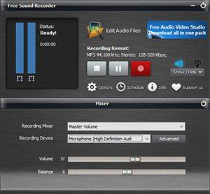 Capture d'écran du logiciel Free Sound Recorder 10.8.8