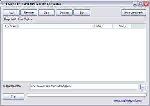 Capture d'écran du logiciel Freez Flv to Avi/MPeg/Wmv Conv...