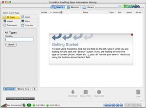 Capture d'ecran du logiciel FrostWire 6.8.5 build 293 - MacOS