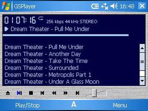 Capture d'écran du logiciel GSPlayer 2.29