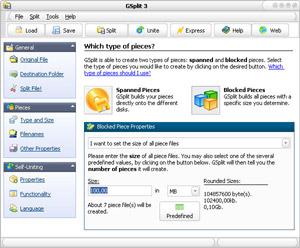 Capture d'ecran du logiciel GSplit 3.0.1 fr