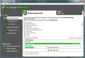 Capture d'ecran du logiciel GameSave Manager Portable 3.1 build 455